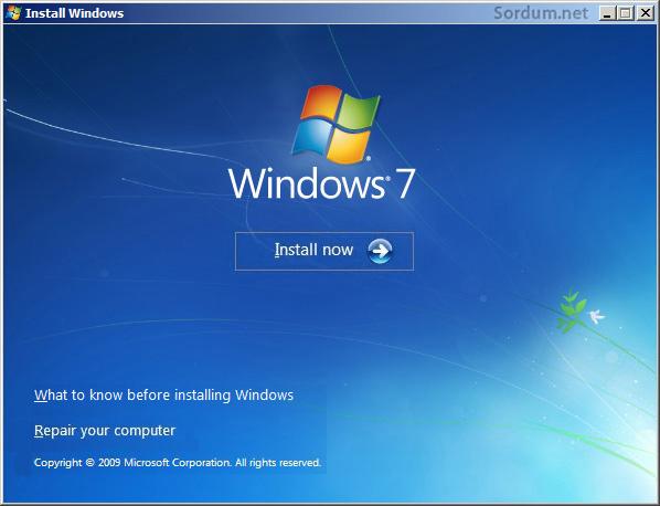 Windows 7 kurulum ekranı