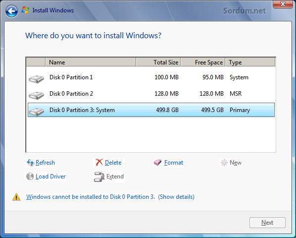 windows cannot be installed to this disk hatası