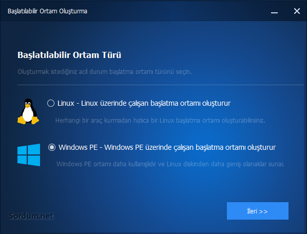 Windows PE tabanlı açılış diski