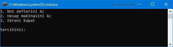 Bat kullanıcı seçim ekranı