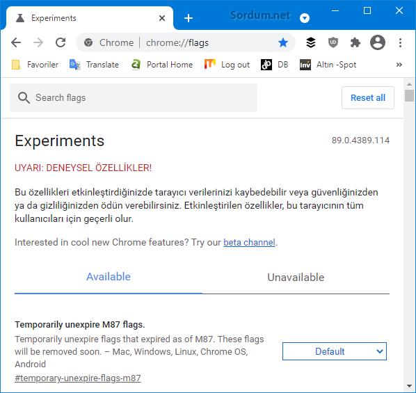 Chrome deneysel özellikler sayfası