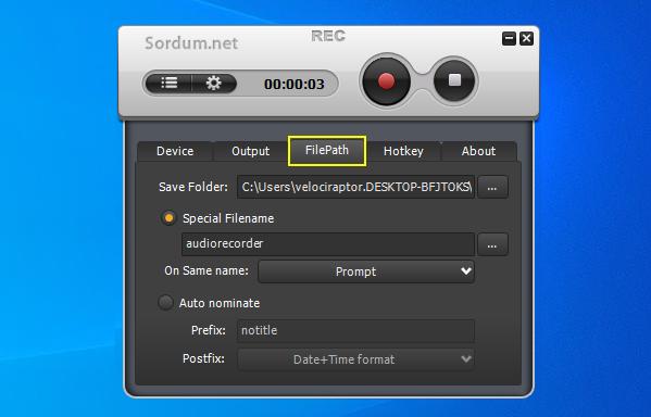 Weenysoft free audio recorder kayıt yeri