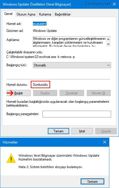 Windows Update hizmeti yok