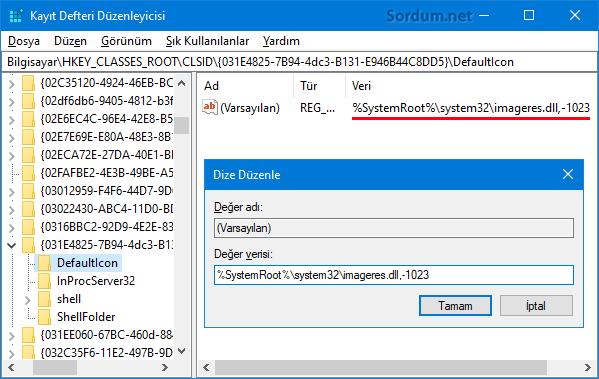 Registryde Dosya gezgini ikonu