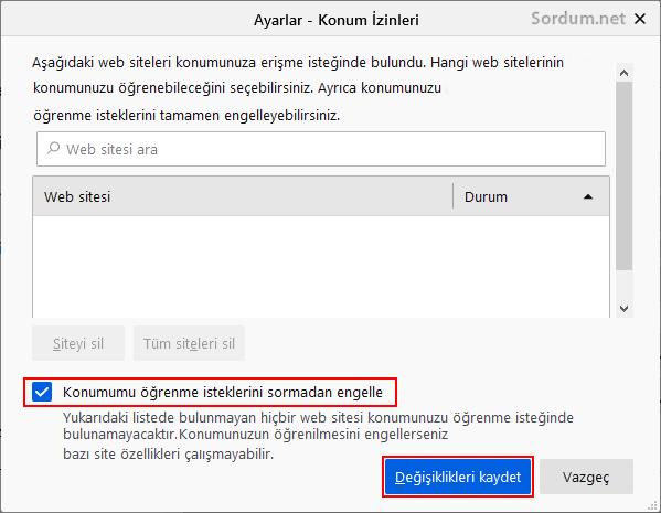 Firefox konum bilgilerinizi paylaşmasın