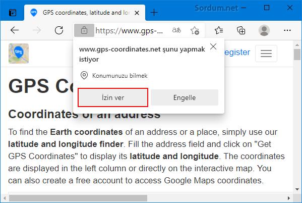 gps coordinates ile adres bul