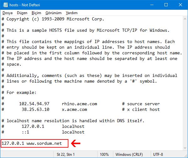 Hosts dosyası ile site yasakla