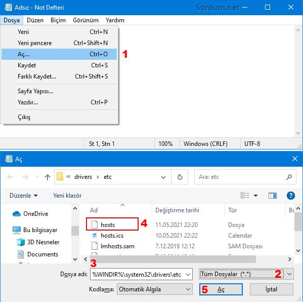Not defteri ile hosts dosyası editle