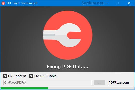 Pdf fixer PDF yi onarıyor