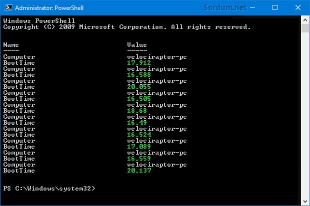 Son 10 Windows açılış süresi