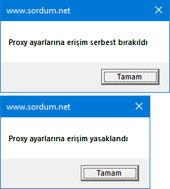 Vbscript ile Proxy ayarlarını yasakla