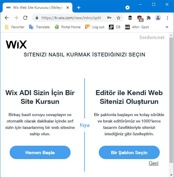 Wix site seçenekleri sayfası