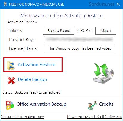 Windows Aktivasyonunu geri yükle