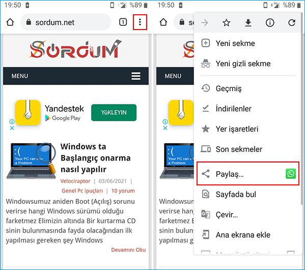 Android Chrome ekran alıntısı aracı