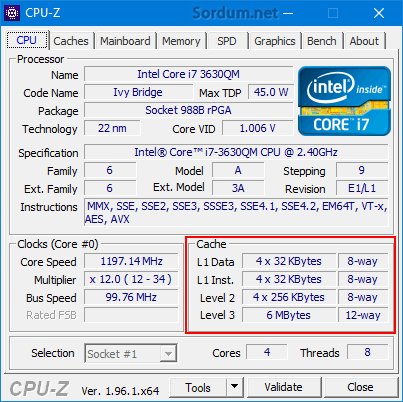 Cpu-z ile işlemci cachesini bul
