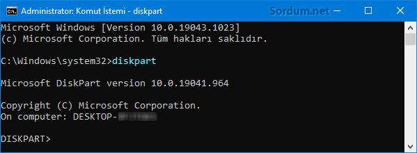 Cmd de Diskpart komutu