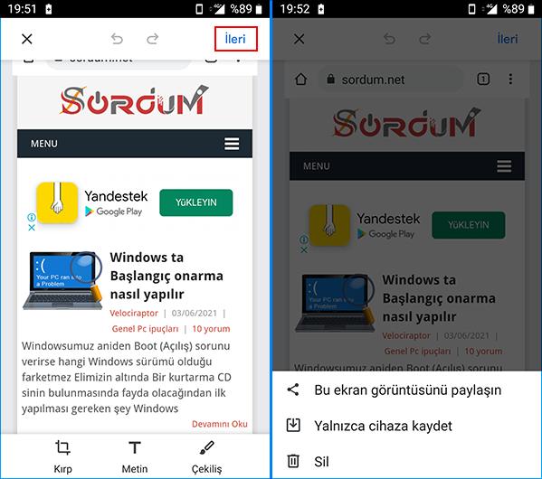 Chrome ekran görüntüsünü paylaş
