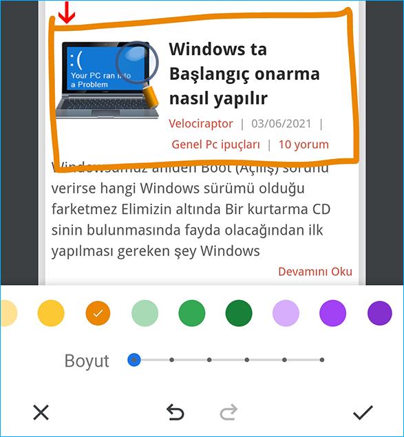 Chromede ekran resmini düzenle