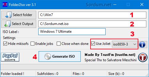 folder2iso yazılım arayüzü