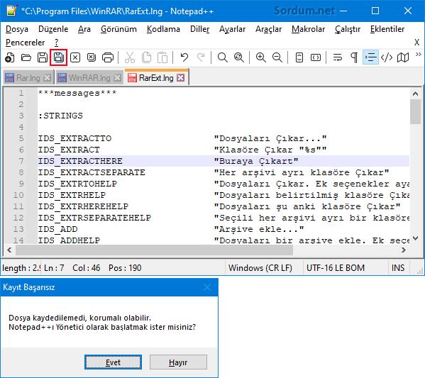 Notepad++ değişiklikleri kaydet