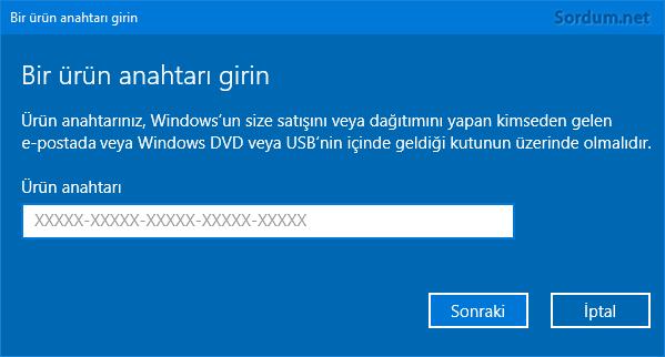 Ürün anahtarı değiştirme ekranı