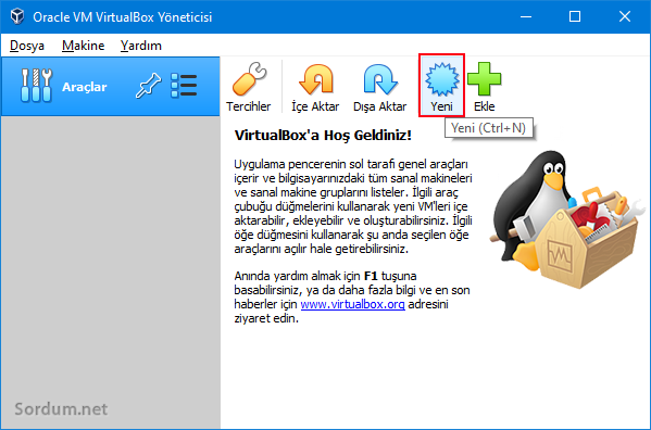 virtual box a sistem kur