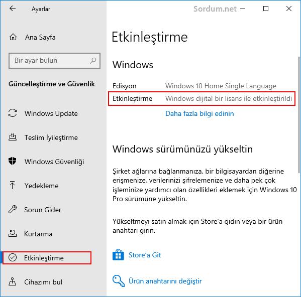 Windows lisans durumu nedir