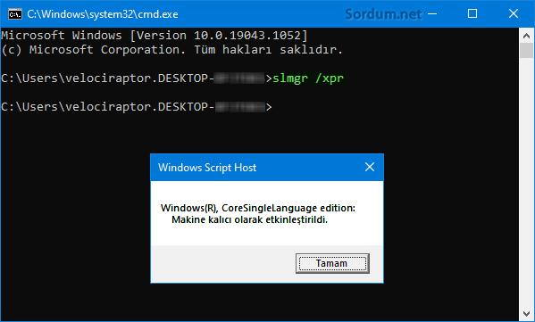 Windows yasal mı komutla bul