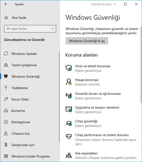 windows guvenligi uygulaması