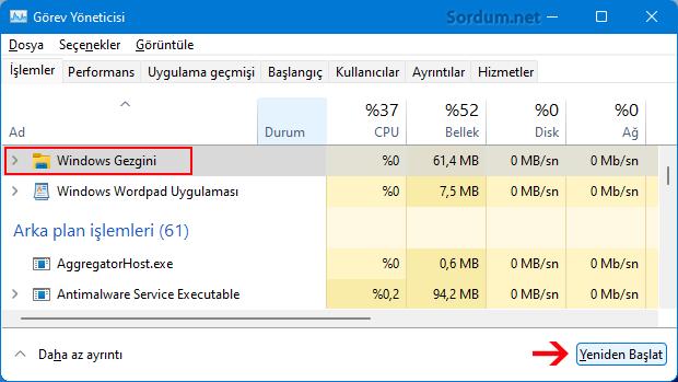 Windows 11 de dosya gezginini yeniden başlat