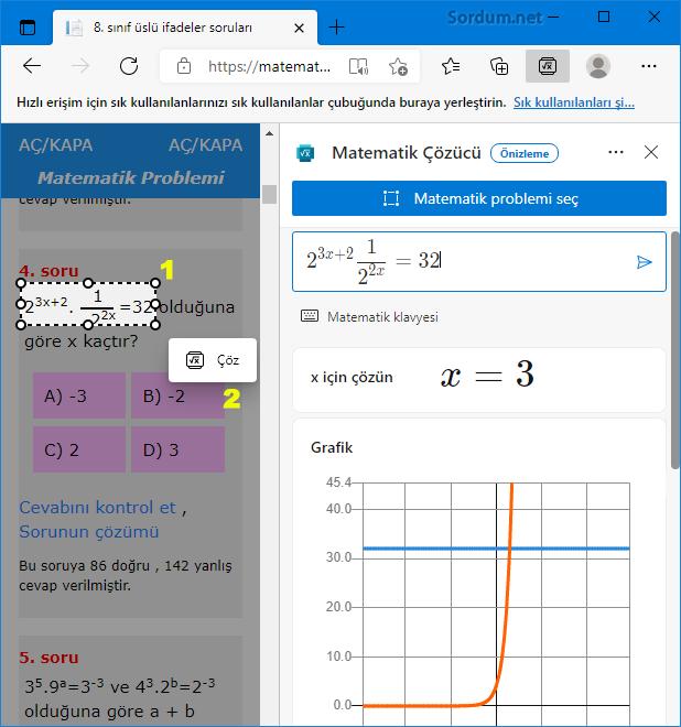 Microsoft Edge ile Matematik çöz