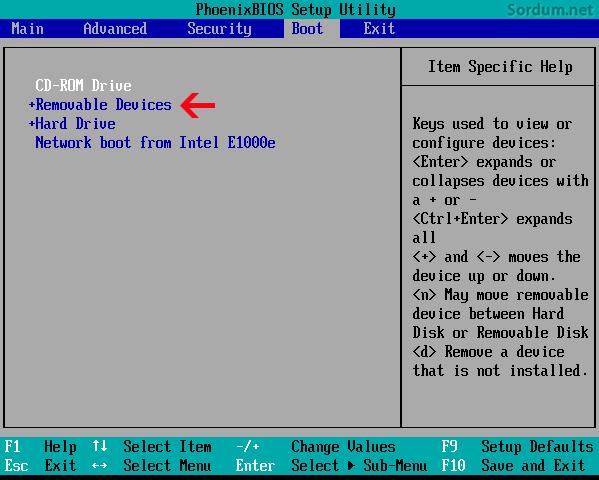 Flash (USB) belleği BIOS ta ilk sıraya al