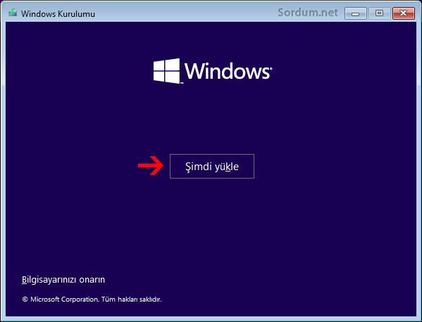 Format ekranı şimdi yükle seçeneği