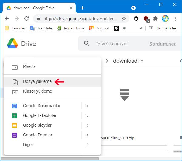 Google drive ile dosya yolla