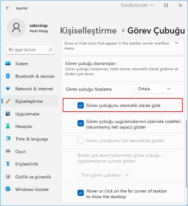 Windows 11 de görev çubuğu otomatik gizlensin