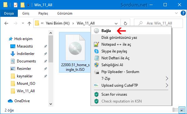 ISO dosyasını bağla