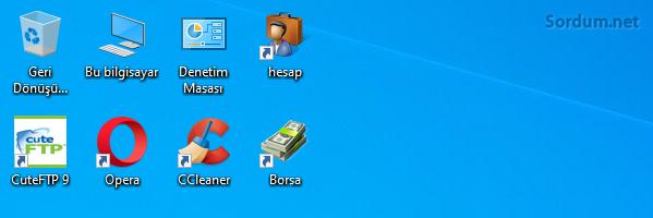 windows 10 masaüstü ikonları