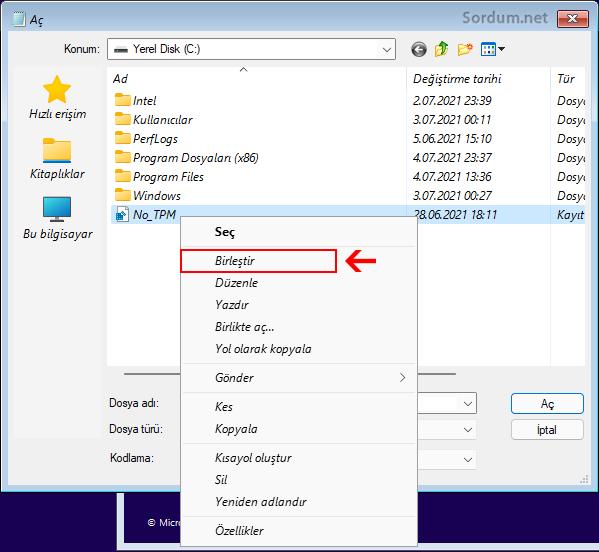 Registry kaydını eklemede sağ tuştaki birleştir kaydı