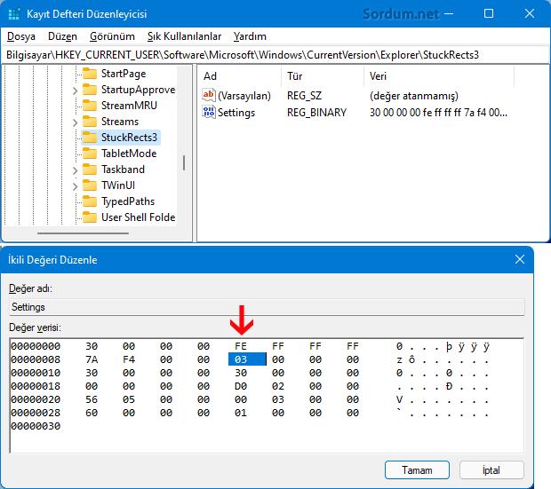 Windows 11 Registryde grev çubuğu konum ayarı