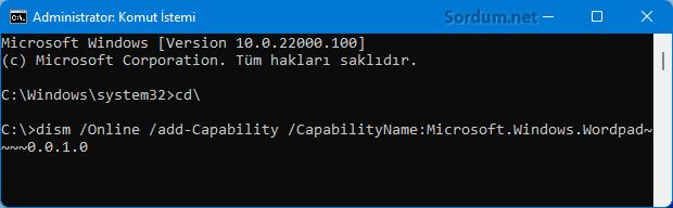 Windowsa Wordpad nasıl eklenir