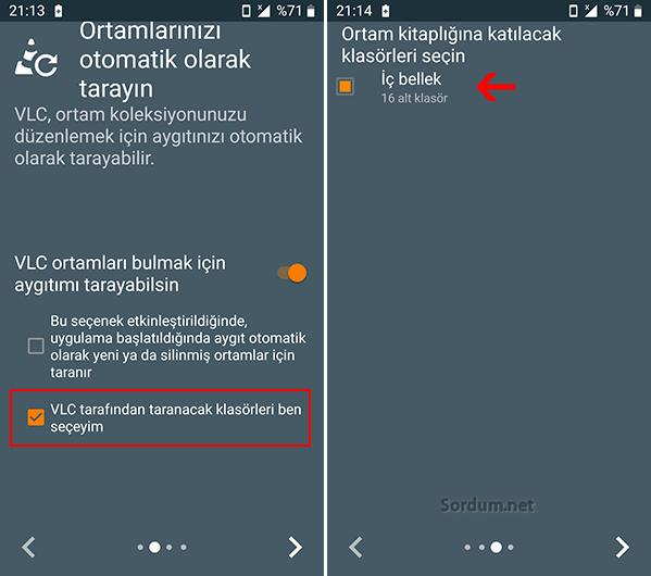 Android VLC ortam taraması