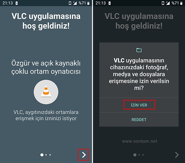 Android VLC uygulamasına izin ver
