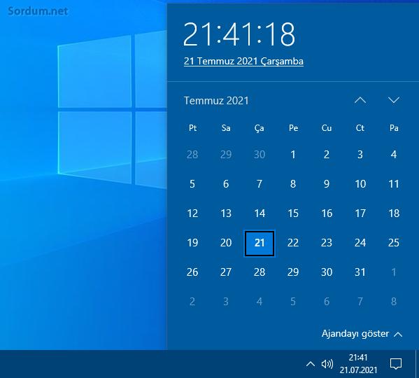Windows 10 da saniye nerde