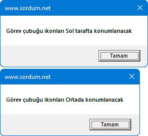 Windows 11 de ikonları sola al