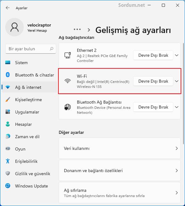 Windows 11 de wi-Fi ayarları