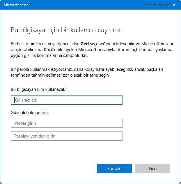 Windows 11 yerel hesap ayarları