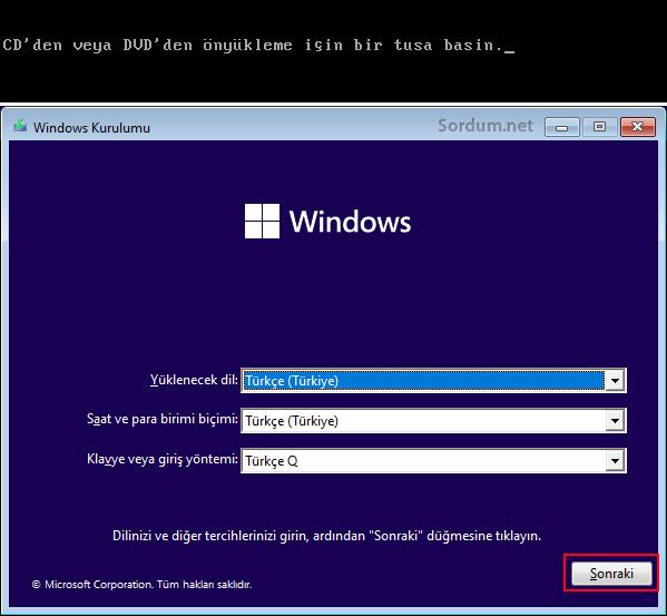 Windows kurulum ekranı
