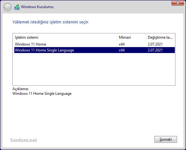Format sırasında Windows sürümünü seç
