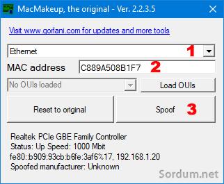 Mac Makeup ile MAC adresi değiştir