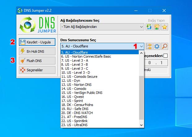 DNS jumper ile DNS değiştir